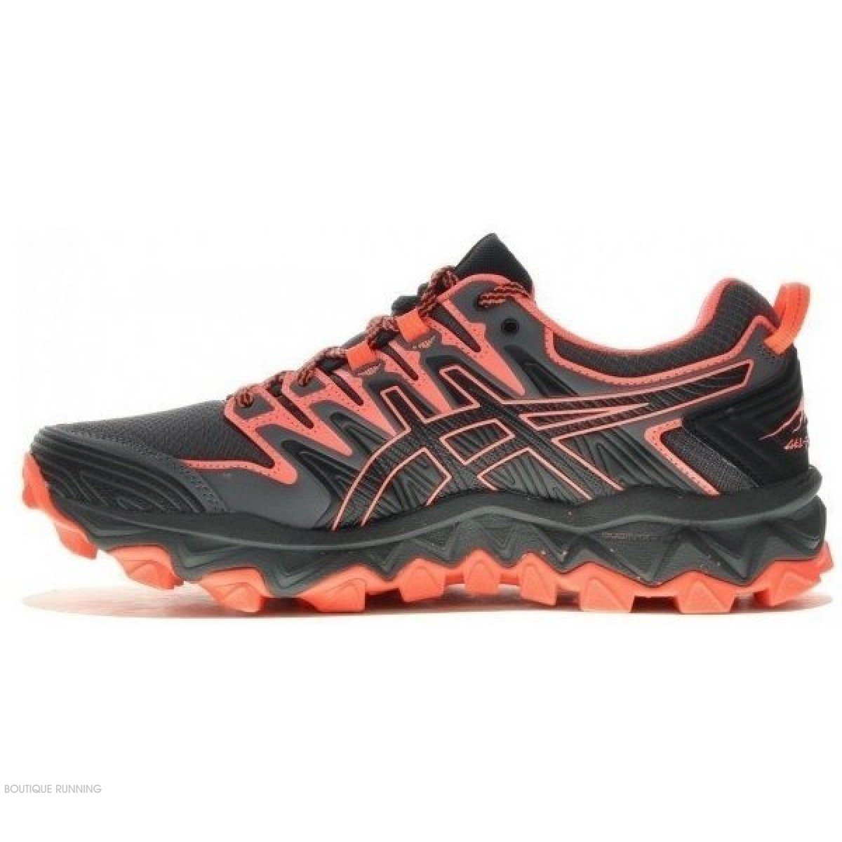 best sneakers eabfd 069a4 chaussure de trail running asics gel fuji trabuco 7 1012a180-001 black   flash  coral