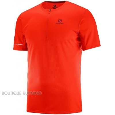maillot de running pour hommes salomon agile hz ss tee lc106070 FIERY RED